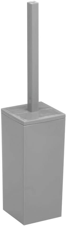 mDesign Modern Square Plastic Toilet Bowl Brush and Holder for Bathroom Storage and Organization, Compact Free-Standing Design, Covered Brush - Sturdy, Deep Cleaning - Gray