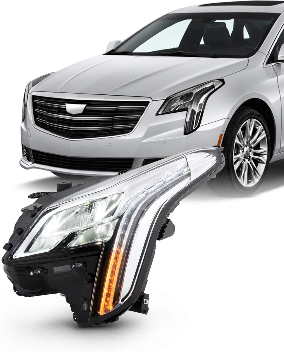 Fits 2018 2019 Cadillac XTS Sedan 4Door LED DRL Tube Bar Projector Chrome Headlight Driver Left Headlamp Replacement