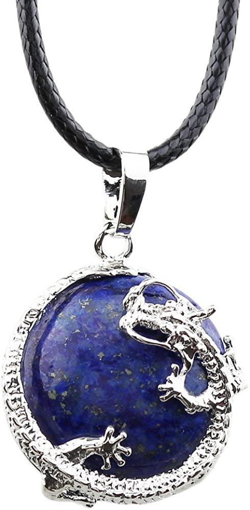 FOY-MALL Fashion Metal Lapis Lazuli Dragon Ball Pendant Necklace D1241M