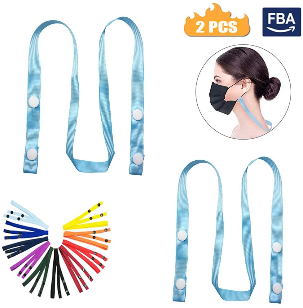 Adjustable Mack Lanyard,Lanyard Extender,Windproof Rope, Comfortable Around The Neck Protection Rest,Ear Saver,Ear Pressure Relief Extender Strap Handy with Holder Around The Neck (Blue 2Pcs, Adult)