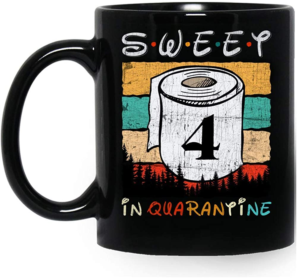 Sweet 4 in Quarantine 2020 Vintage Social Distancing Born in 2016 4th Birthday Gift for Girls Women Funny Coffee Mugs Ceramic Cup Mug Black Novelty 11 Oz 15 Ounces