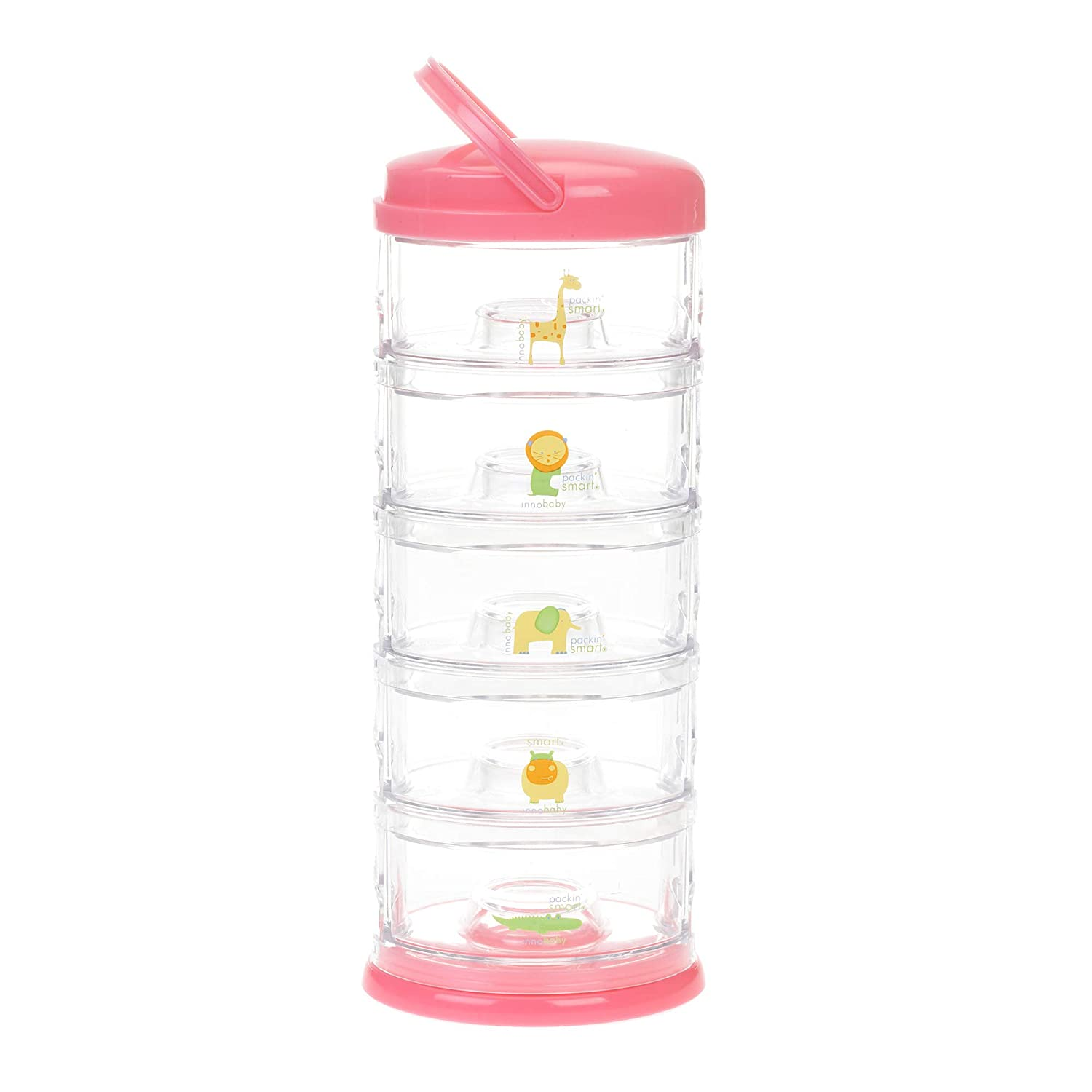 Innobaby Packin' Smart Stackable and Portable Storage System for Formula, Baby Snacks and More. 5 Stackable Cups in Strawberry Sorbet. BPA Free.