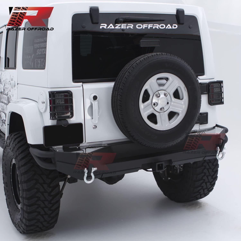 Razer Auto Full Width Rock Crawler Rear Bumper Side Tubular Corners w/Two 4.75 Ton D-Rings & 2