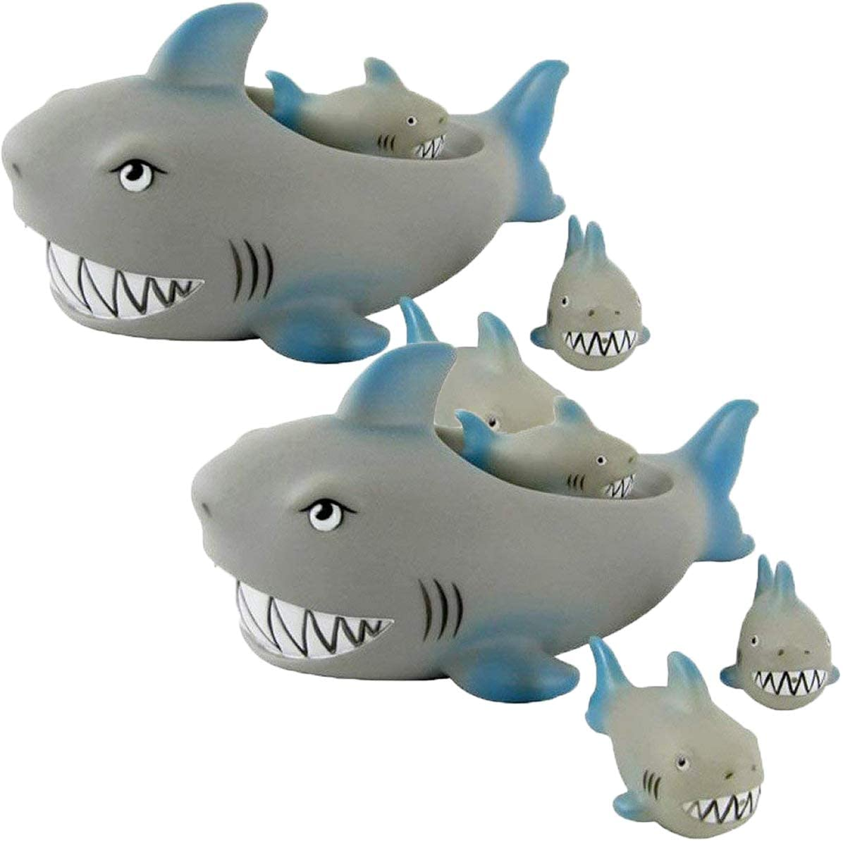 Playmaker Toys Rubber Shark Family Bathtub Pals - Floating Bath Tub Toy (Pack of 2)