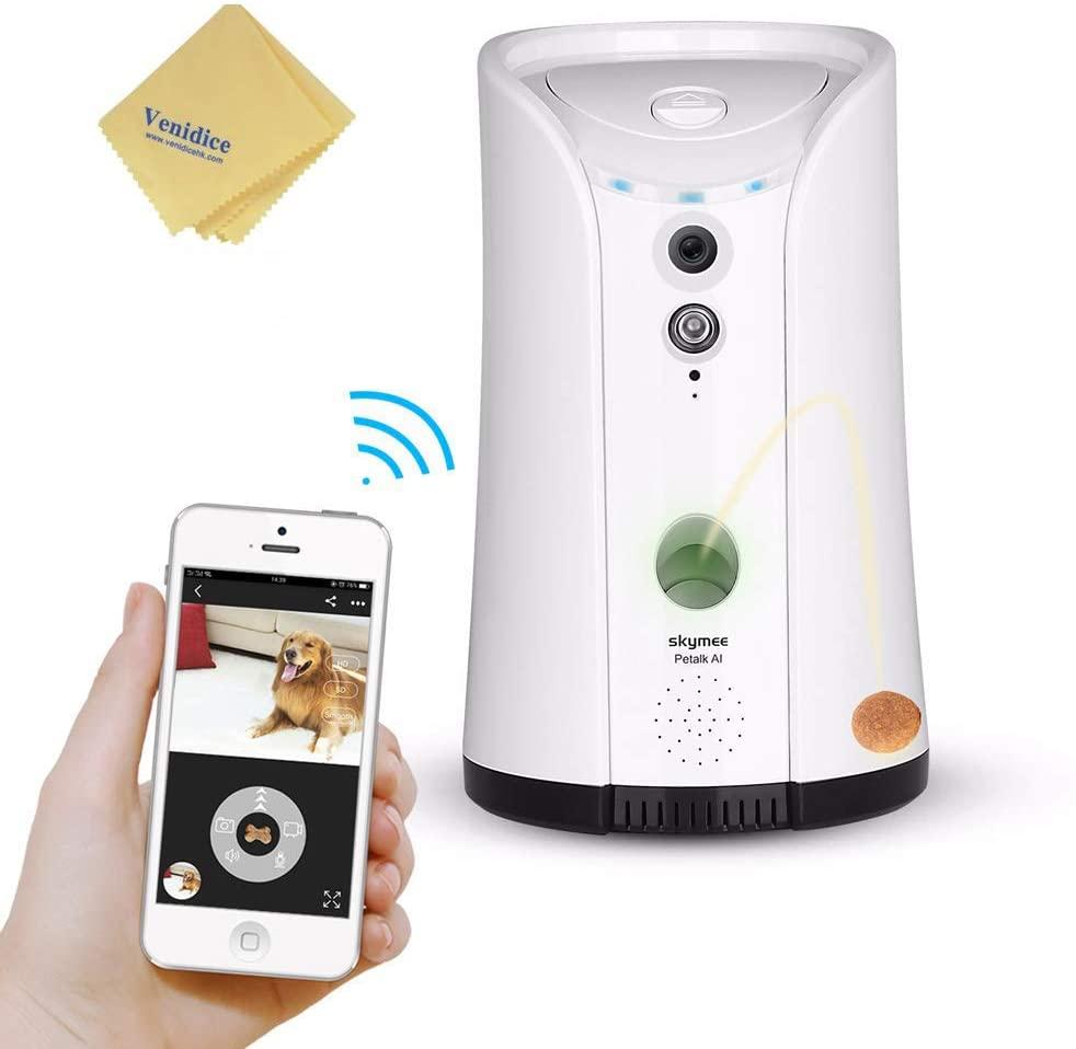 Venidice 2-Way Audio Dog Camera, Night Vision Pet Camrea, WiFi Remote Control for Treat Dispenser+ Venidice Cleaning Cloth