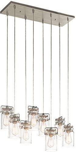 Kichler 42890NI Brinley Chandelier, 8 Light Incandescent 800 Total Watts, Brushed Nickel