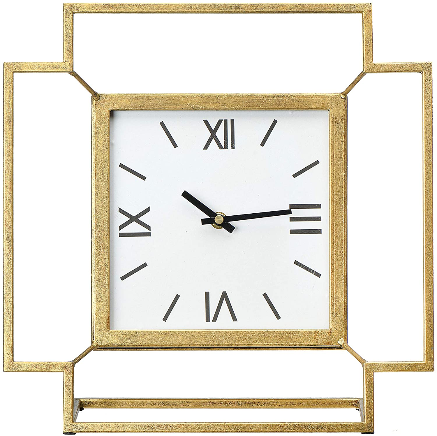 Creative Co-op Antiqued Gold Square Mantel/Table Clock