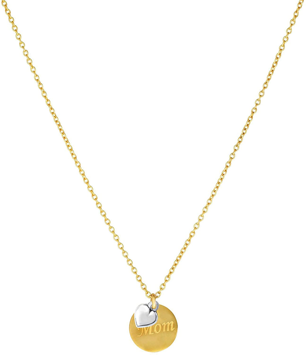 14k Yellow Gold MOM Round Disc Pendant Chain Necklace, 18