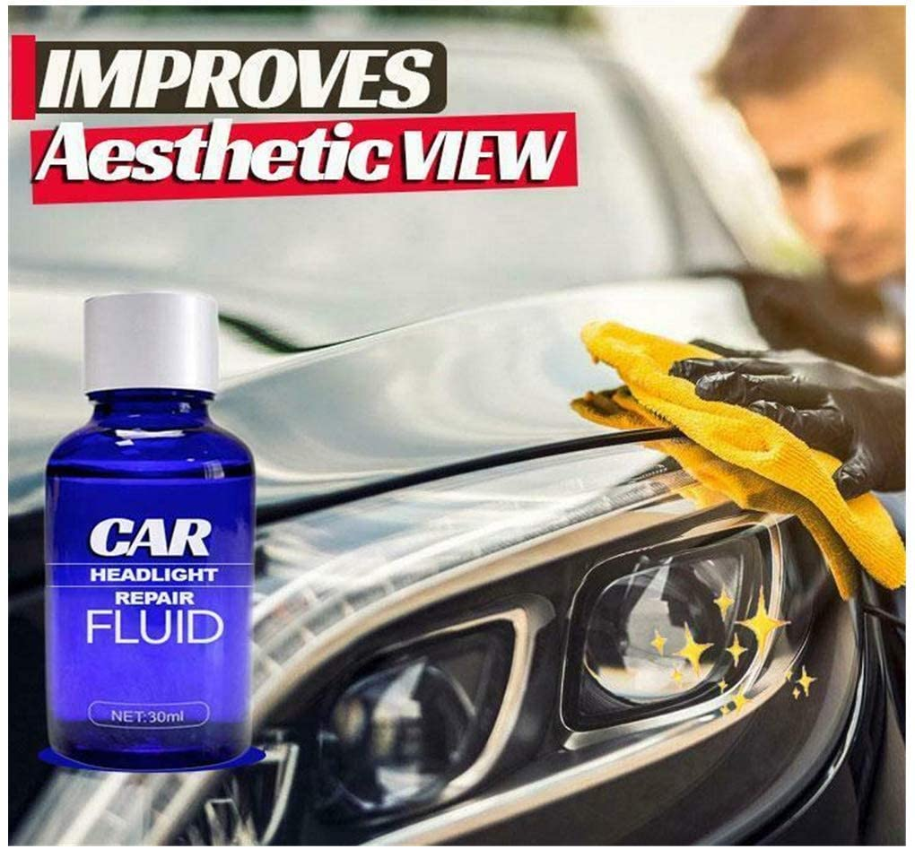Brilliaire Car Headlight Repair Fluid Kit,Cleaner and Restorer-Quick Headlight Clear Coat, Extreme UV Protection Prevents Lens Yellowing