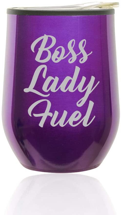 Stemless Wine Tumbler Coffee Travel Mug Glass with Lid Boss Lady Fuel (Royal Purple)