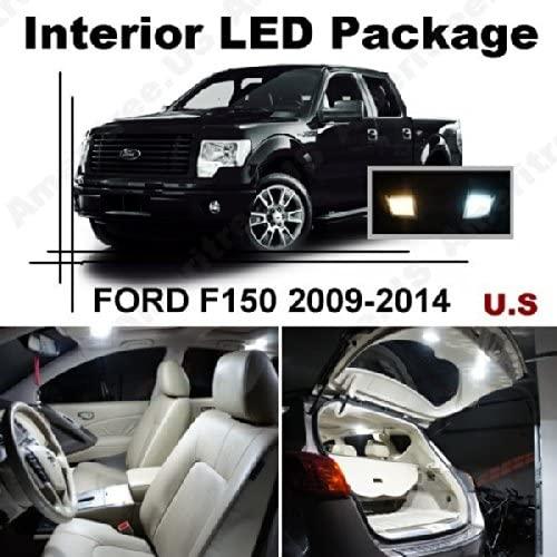 Ameritree Xenon White LED Lights Interior Package + White LED License Plate Kit for Ford F150 2009-2014 (9 Pcs)