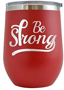 Be Strong Breast Cancer - Engraved 12 oz Stemless Wine Tumbler Cup Glass Etched - Funny Birthday Gift Ideas for, her, mom, wife Breast Cancer Awareness Pink Ribbon Survivor (Red - 12 oz)