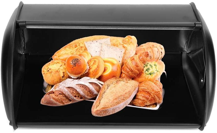 A sixx Bread Storage Box, Large Capacity Stainless Steel Bread Box Bread Storage Bin Container Kitchen Storage Organizer with Lid(Black)