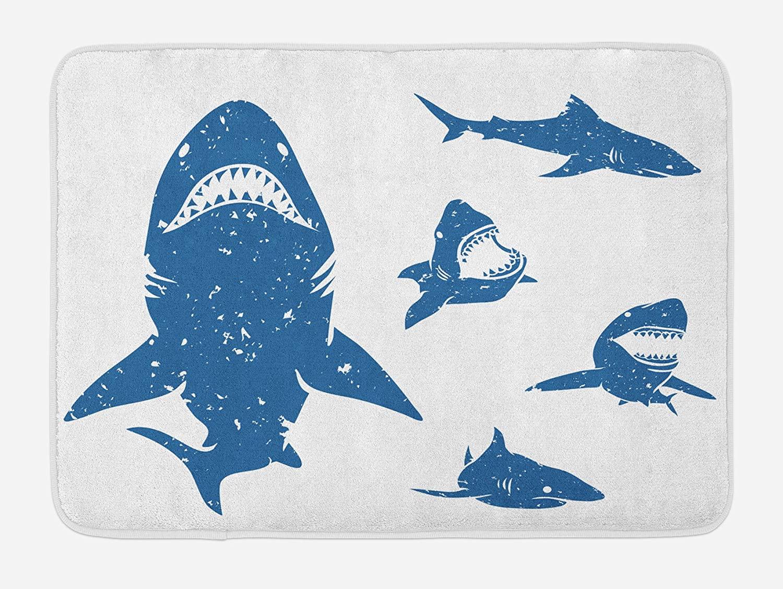 Lunarable Shark Bath Mat, Digital Big Shark with Distressed Effects Deep Ocean Natural Retro Design Print, Plush Bathroom Decor Mat with Non Slip Backing, 29.5