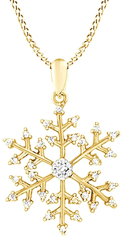 AFFY White Natural Diamond Snowflake Pendant Necklace in 14k Gold Over Sterling Silver (0.17 Ct)