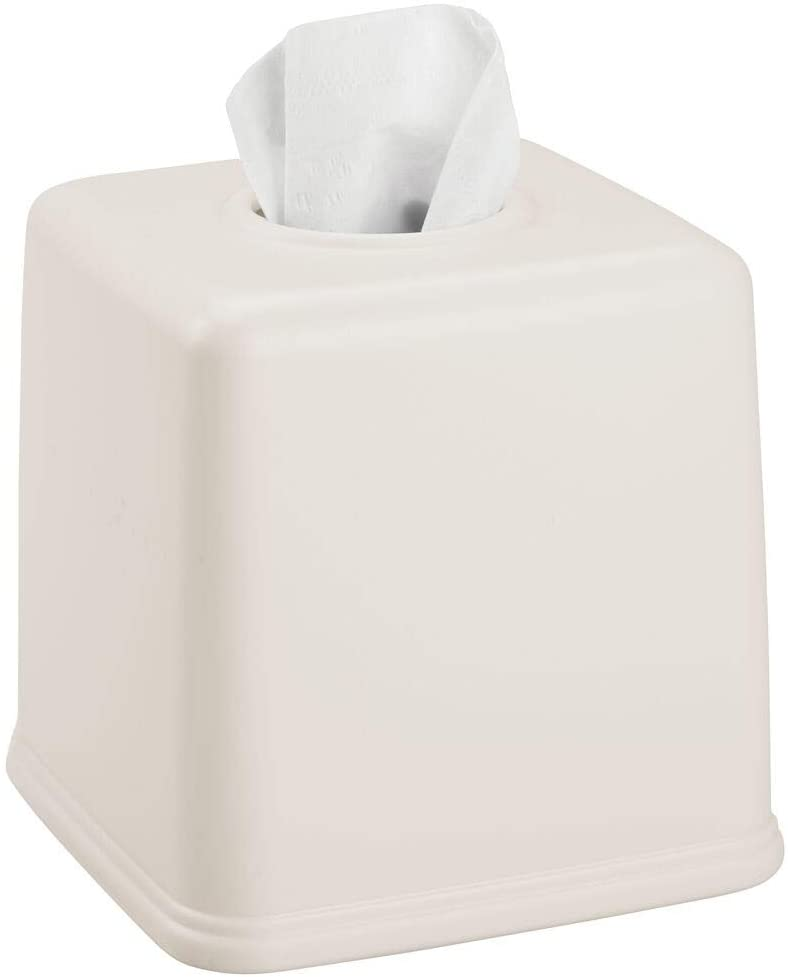 mDesign Plastic Square Facial Tissue Box Cover Holder for Bathroom Vanity Countertops, Bedroom Dressers, Night Stands, Desks and Tables - Cream