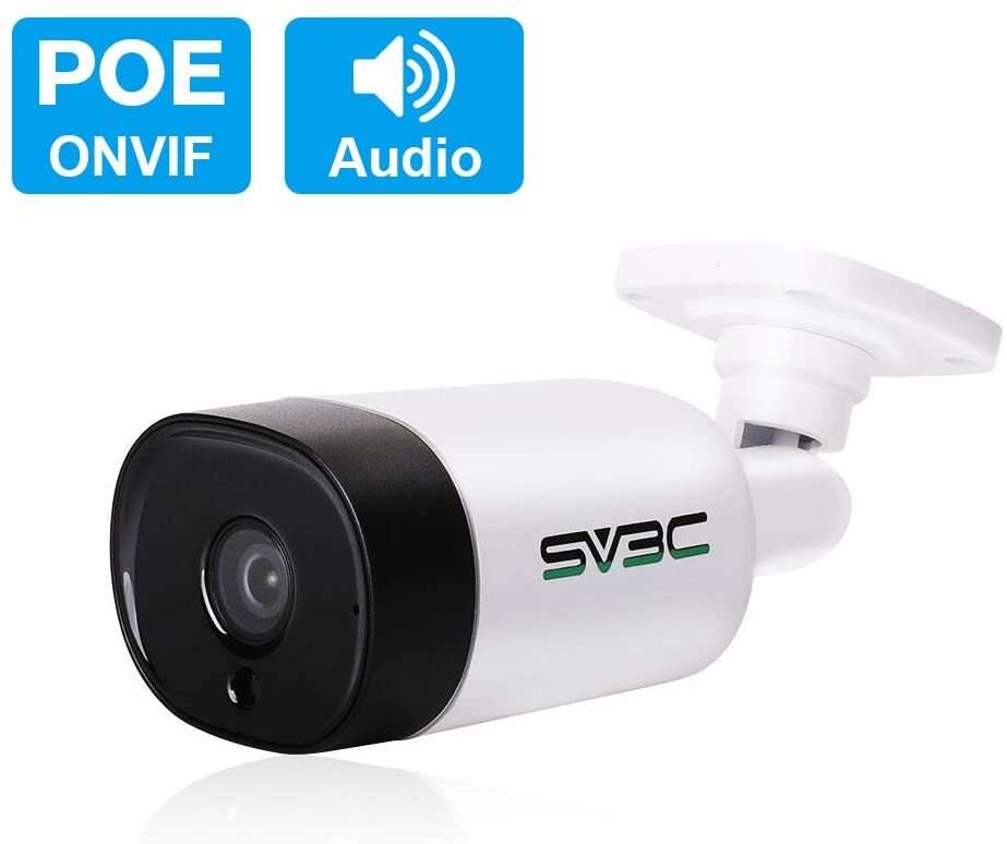 SV3C 5 Megapixels Poe Camera with Audio, Indoor Outdoor Home Security Camera, 18pcs IR Led Lights HD Night Vision, IP66 Waterproof, Motion Alert, Video Record, 3.6mm Lens, H265, Support RTSP Onvif