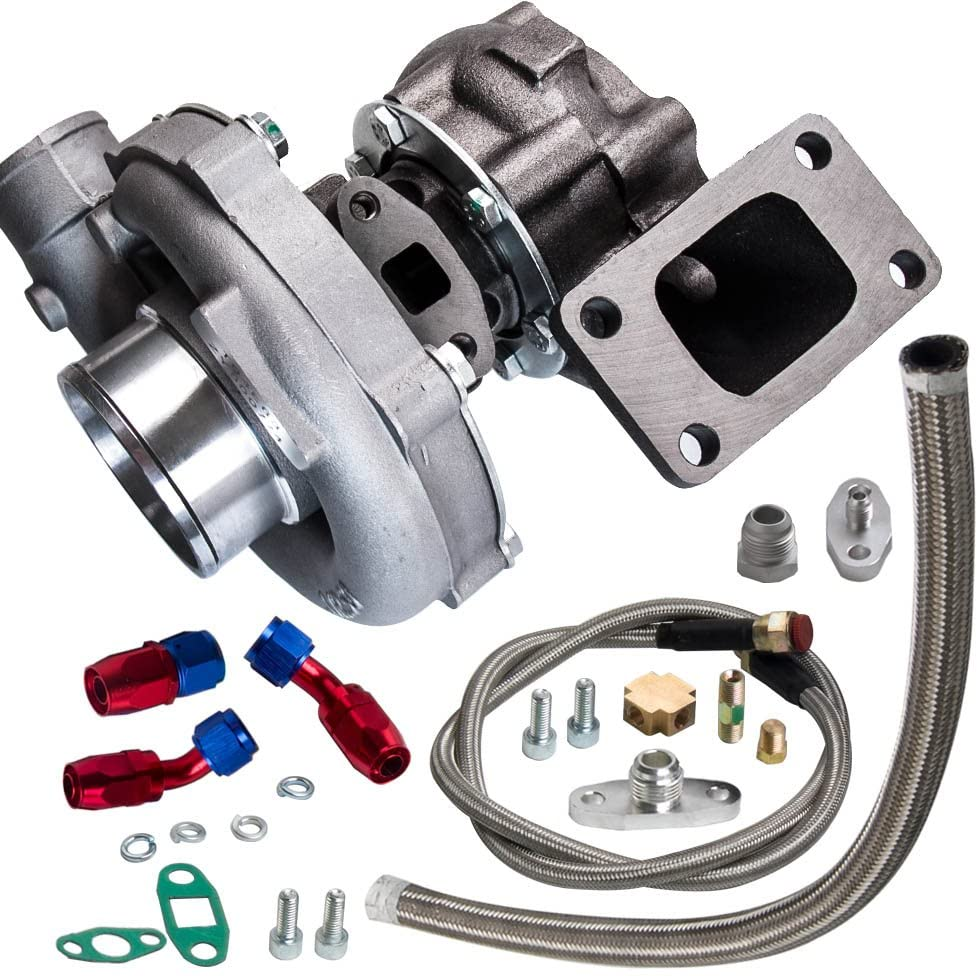 maXpeedingrods T04E T3/T4 A/R.57 73 TRIM 400+HP STAGE III TURBO CHARGER+OIL FEED+DRAIN LINE KIT
