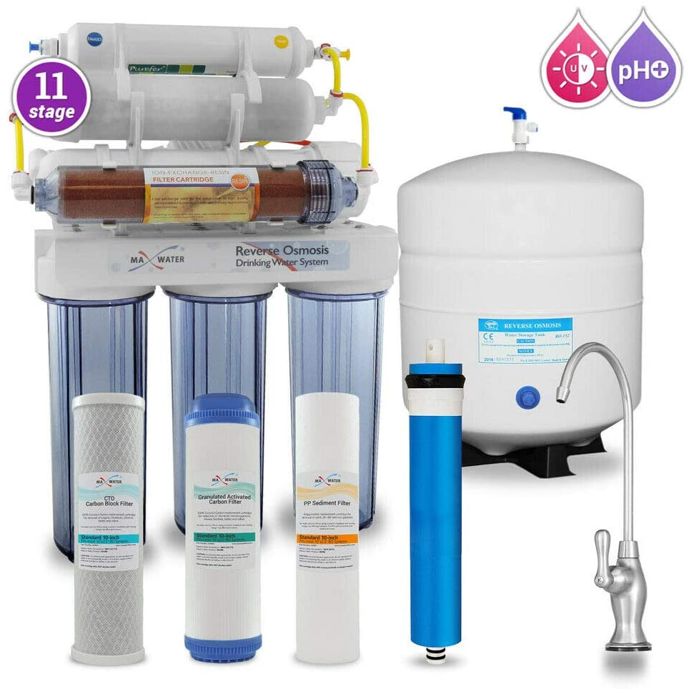 Max Water 11 Stage Home Reverse Osmosis System/Reverse Osmosis System/RO Water Filtration System Under Sink RO Water Purifier 50 GPD RODI System, PH 5-1 Alkaline Water Filter with CP D Faucet