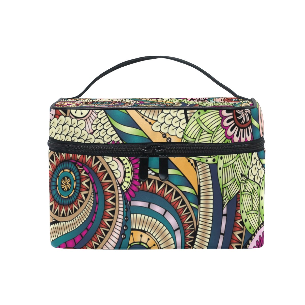 SAVSV Seamless Flower Retro Background Cosmetic Bag Toiletry Bags Travel Makeup Large Organizer Portable Multifunction Case for Women Girls
