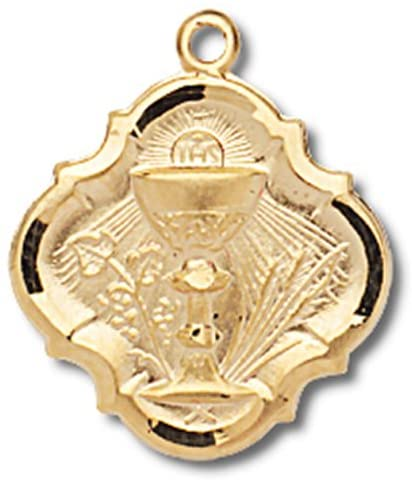 First Communion 14KT Gold Tone over Sterling Silver 3/4 Inch Pendant