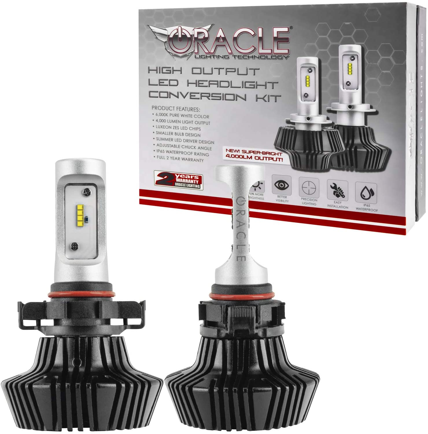 ORACLE 4,000 Lumen LED Headlight Bulbs - One Pair of LED Headlights for Cars (PSX24W/2504) - Part # 5245-001