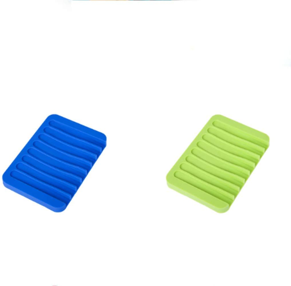 Silicone Soap Dish Soap Holder Tray Saver with Drainer Shower Waterfall Bathroom Kitchen Sinks,Keep Soap Dry,Pack of 2 (Blue Green)