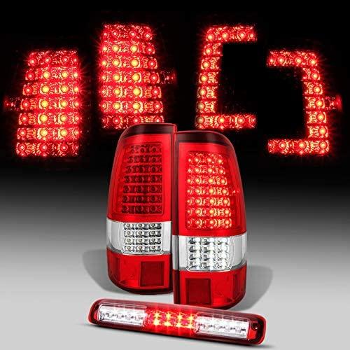 For [C-Shape Full LED] 1999-2002 Silverado   1999-2003 GMC Sierra Taillights + Red 3rd Brake Light Pair
