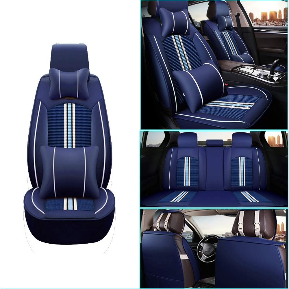 Car Seat Cover for Ford Focus Electric Front+Rear Seats Protector Covers Waterproof Soft PU Leather Cushion 5-Seater Car Pad Stripe Blue 9PCS