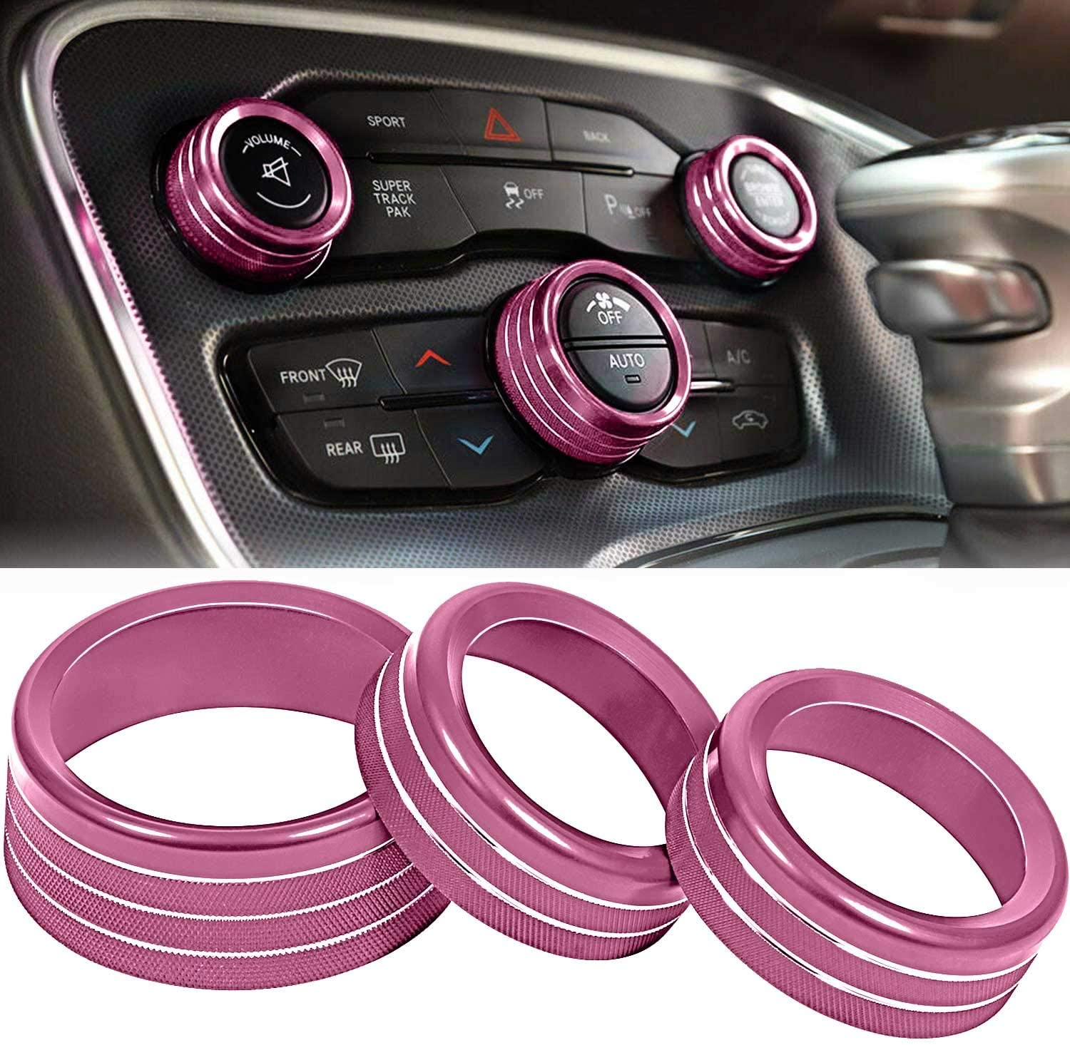 ToolEpic for Dodge Challenger Charger Accessories 2015-2020 - Decal Trim Rings Set of 3 - Aluminum Alloy Furious Pink - Air Conditioning Radio Volume Button Knob Cover, Perfect for Decoration