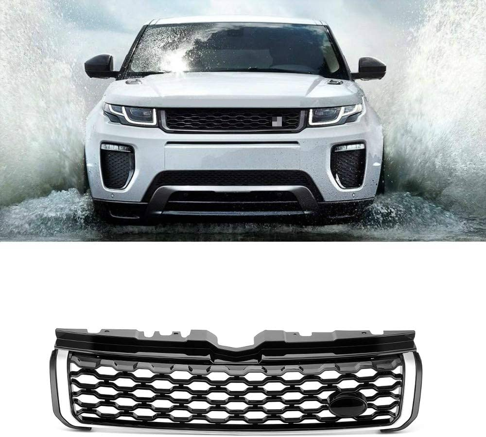 MotorFansClub Front Grille ABS Upper Grill Fit for Compatible with Range Rover Evoque 2012-2018 Black Mesh w/Silver