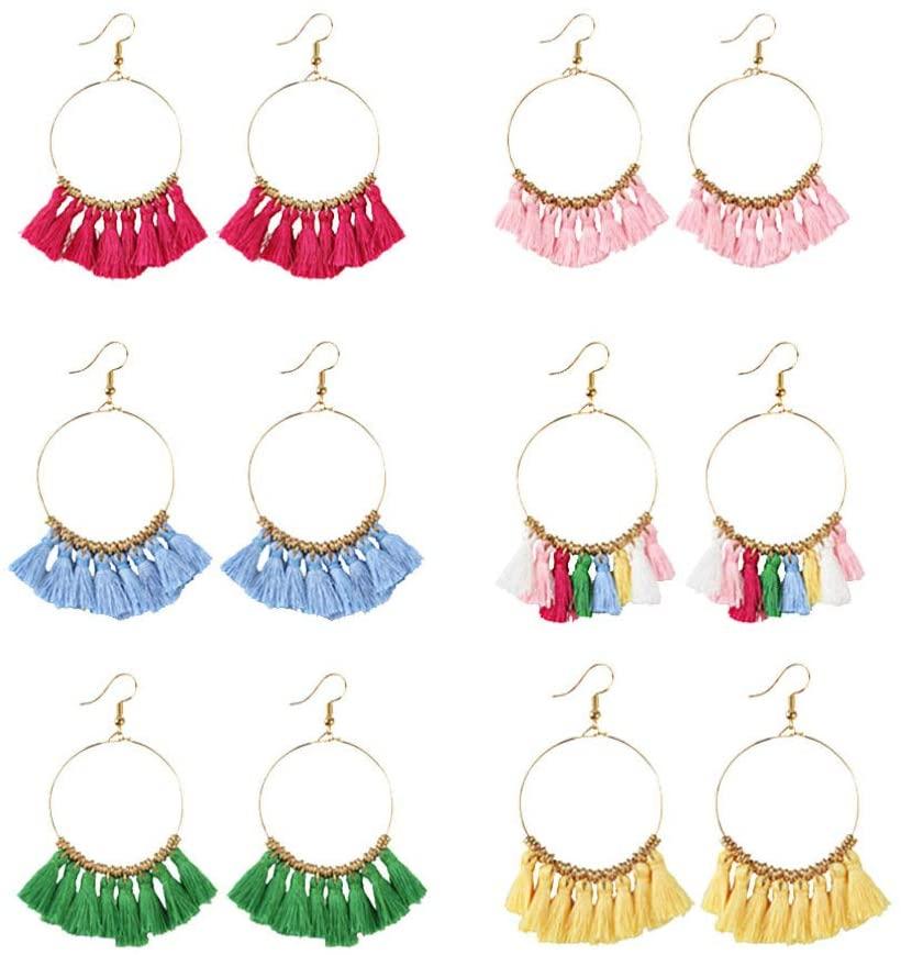 Artibetter Tassel Earrings Bohemia Style Weaving Ear Jewelry Dangle Eardrop for Girls Women 6Pairs