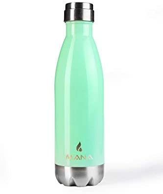 MANA Stainless Steel Water Bottle | Double Walled Vacuum Insulated | 17 oz, 500 ml | BPA free