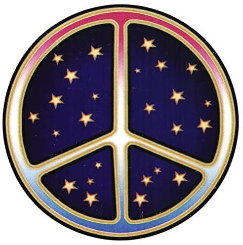 "Starry Peace Sign - Window Sticker / Decal - Circular 4.5"" Translucent"