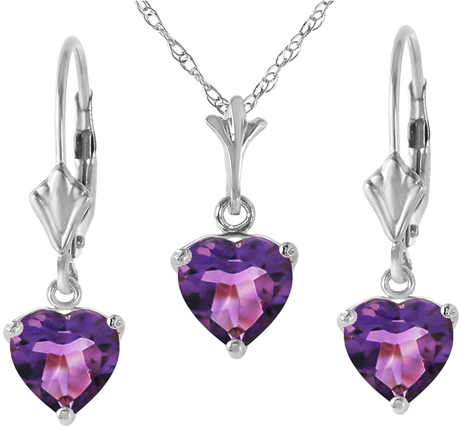 Galaxy Gold 14k White Gold Jewelry Set - Necklace and Earrings w/Natural Heart-shaped Purple Amethysts