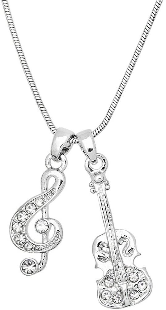 Liavy's Violin & Musical Note Charm Pendant Fashionable Necklace - Sparkling Crystal - 18