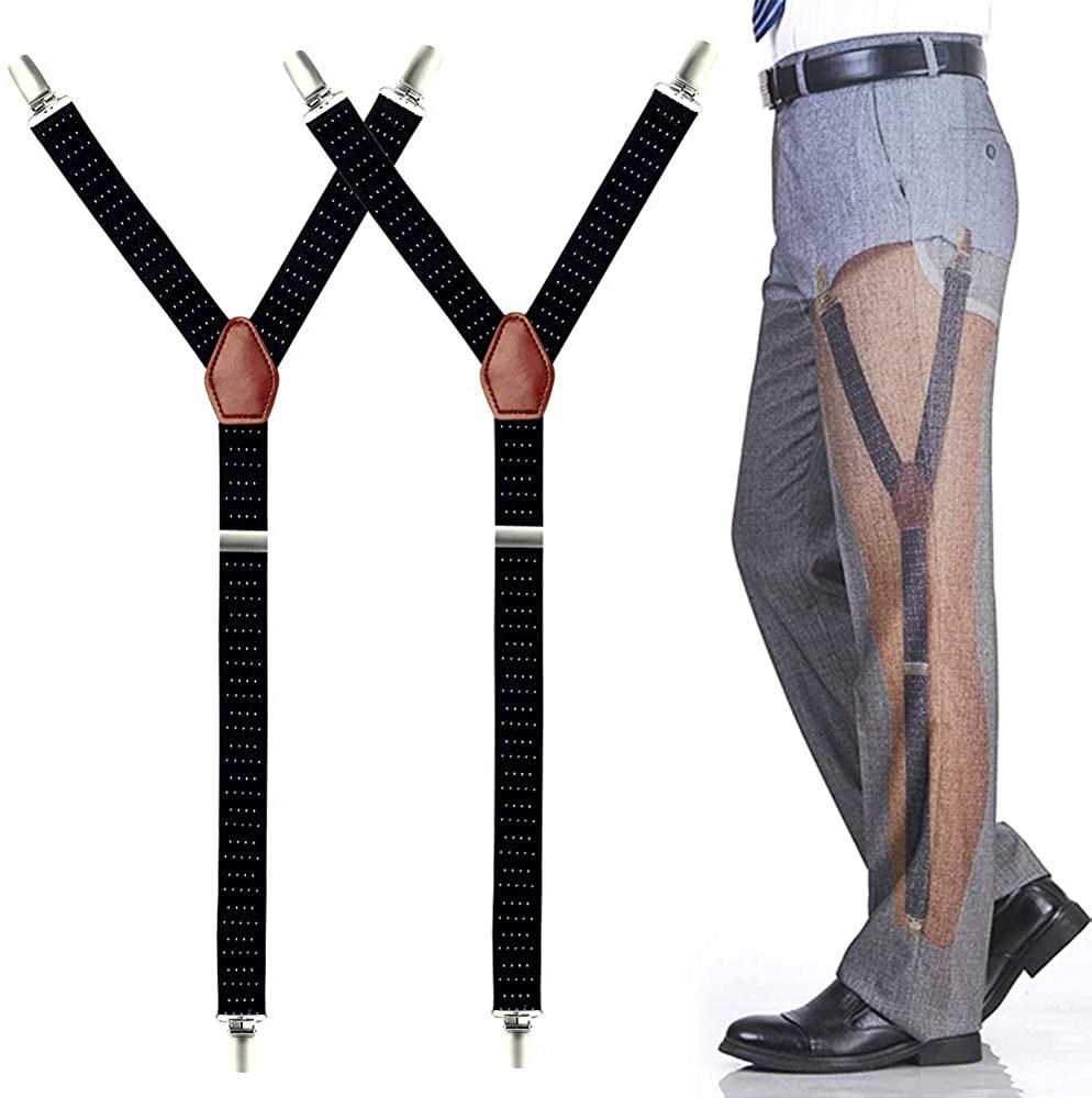 GUOMAN Mens Y-Style Shirt Stays, Adjustable Elastic Garter Straps Sock Non-slip Clamps, Black, Large
