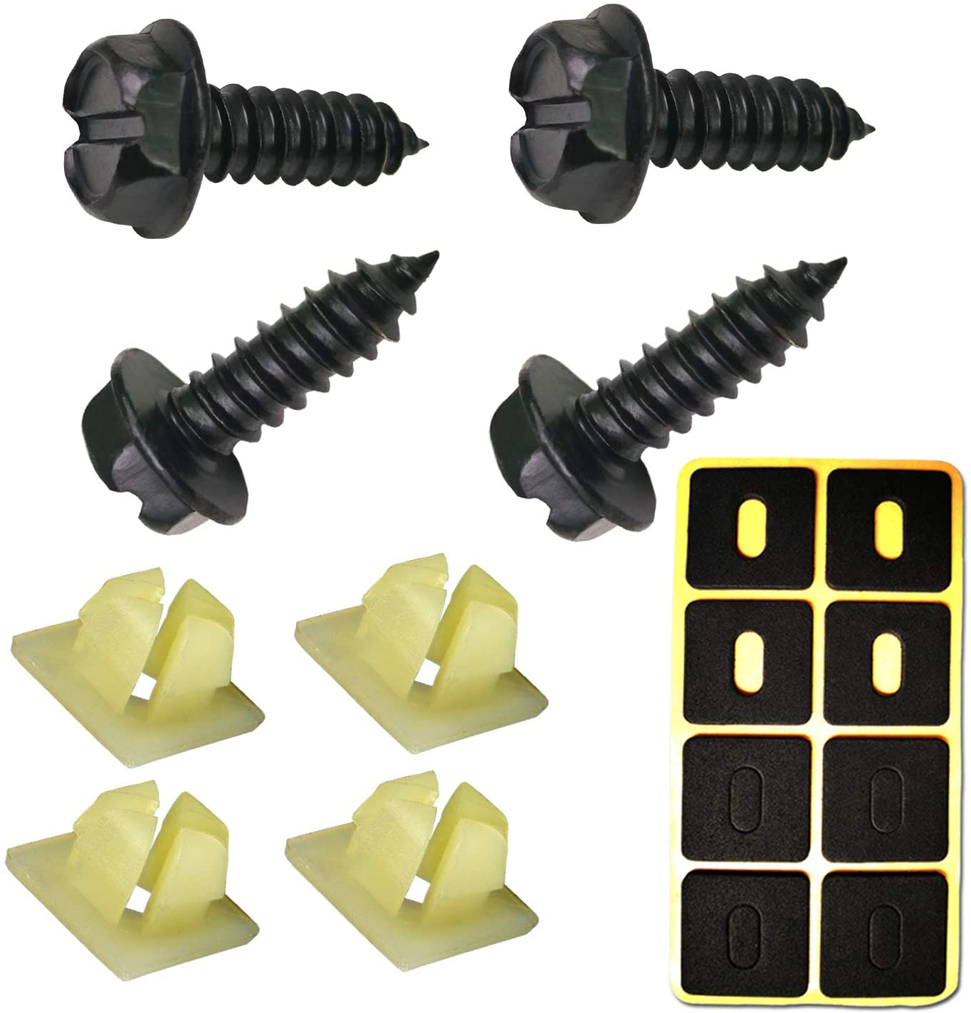 Black License Plate Screws - Rust-proof Stainless Steel Screws, 3/4
