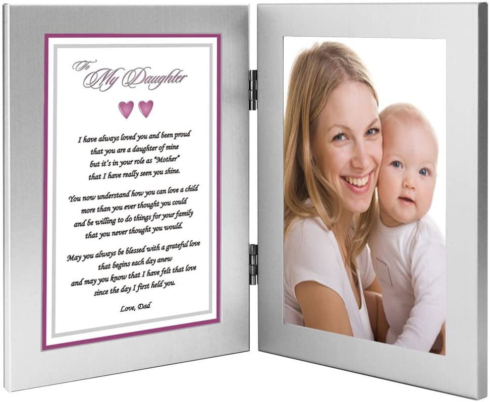 Daughter Gift from Dad Poem Praising Her for Being a Good Mother - Add Photo to 4x6 Inch Double Frame