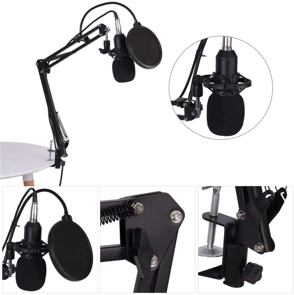 Qiilu Condenser Microphone Kit, BM800 Studio Condenser Microphone Arm Stand Pop Filter Foam Cap Kit Record Accessory BM800 Condenser Microphone