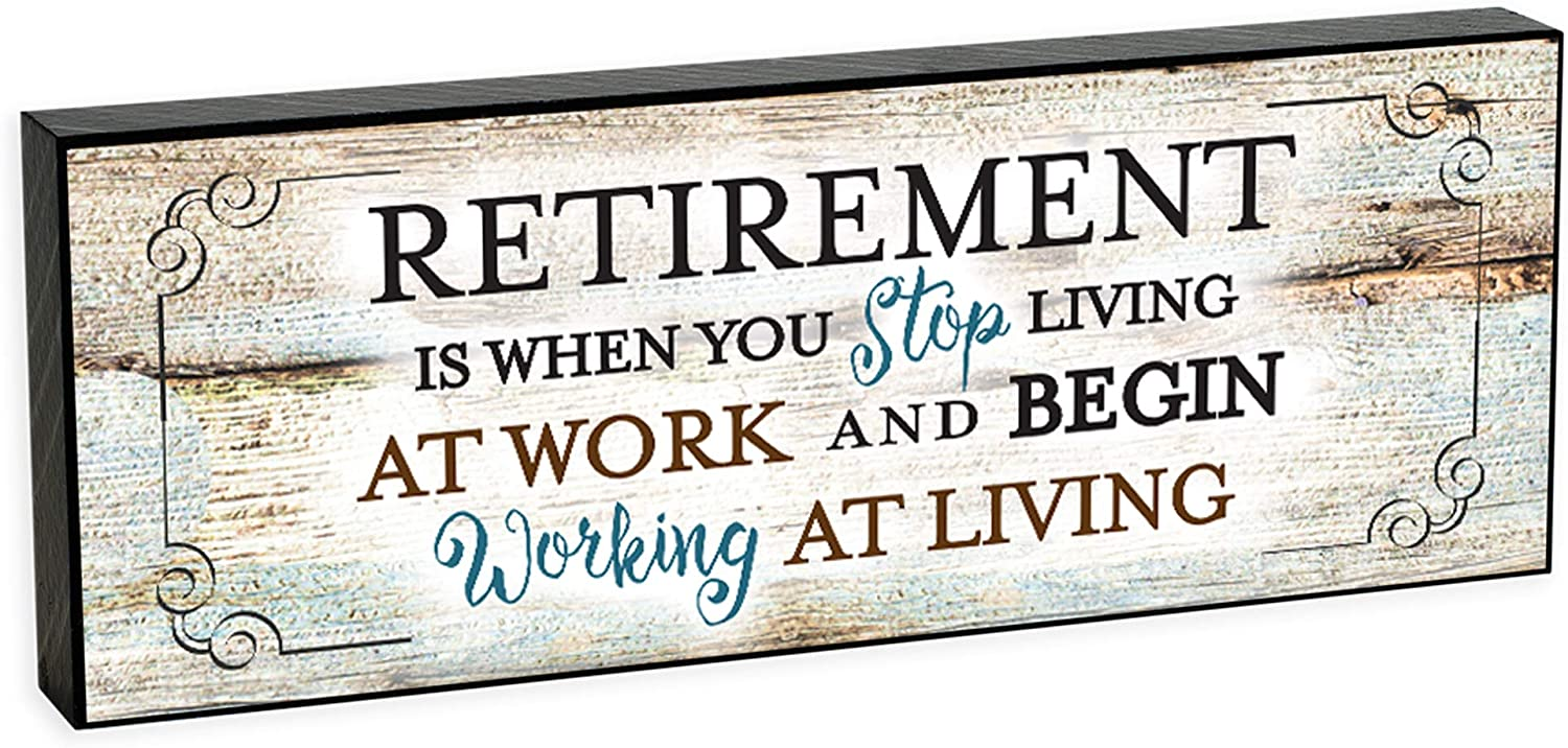Elanze Designs Retirement Congratulations 8 x 3 Wood Double Sided Table Top Sign Plaque
