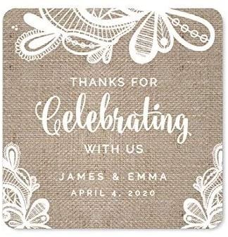 Andaz Press Burlap Lace Wedding Collection, Personalized Square Label Stickers, Thank You for Celebrating with US, 40-Pack, Custom Name