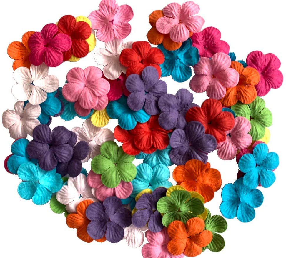 100 pcs Patch Flowers 30x30mm Mulberry Paper Flower Scrapbooking Wedding Doll House Supplies Card Mini Paper Flowers Product from Thailand.