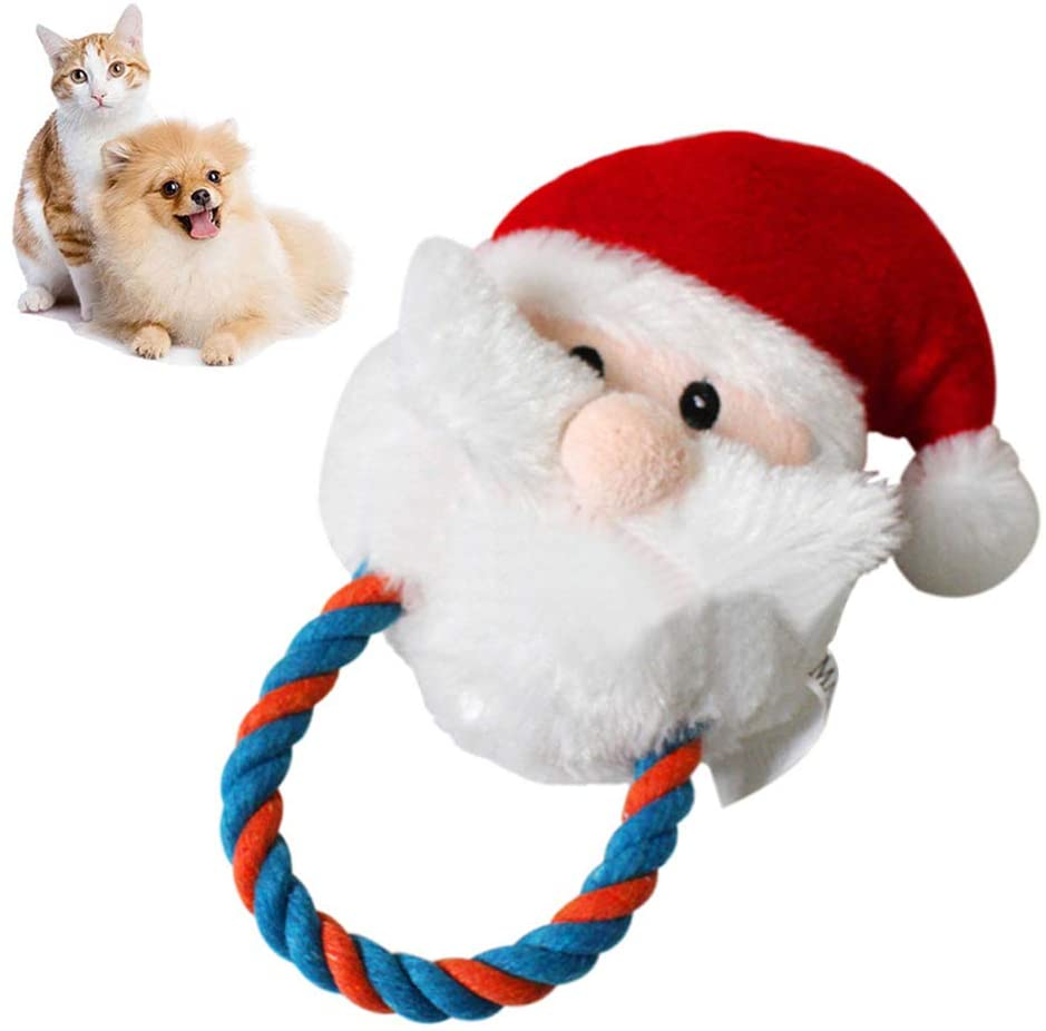 Walbest Christmas Santa Pet Toy Dog Cats Cotton Rope Shape Doll Bite-Resistant Play Chew Toy Red