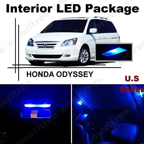 Ameritree LED PKG for Honda Odyssey 2005-2010 (11 Pieces) Blue LED Lights Interior Package + Blue LED License Plate Kit