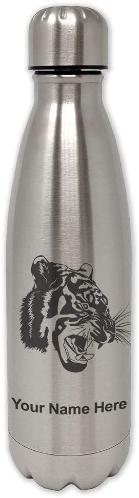 LaserGram Single Wall Stainless Steel Water Bottle, Tiger Head, Personalized Engraving Included