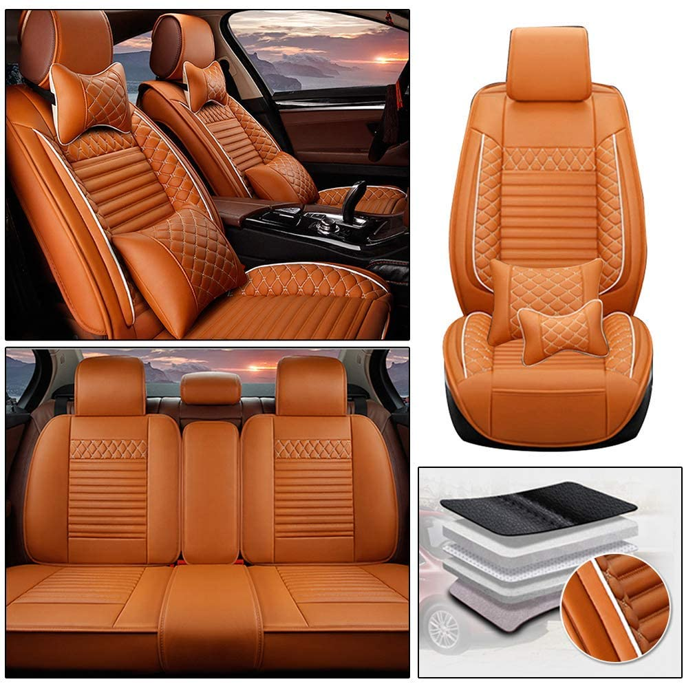 Maiqiken Custom Car Seat Cover for Tesla Model 3 Model S Model X 5-Seat PU Leather Seat Pad Protector Full Set (Luxury)