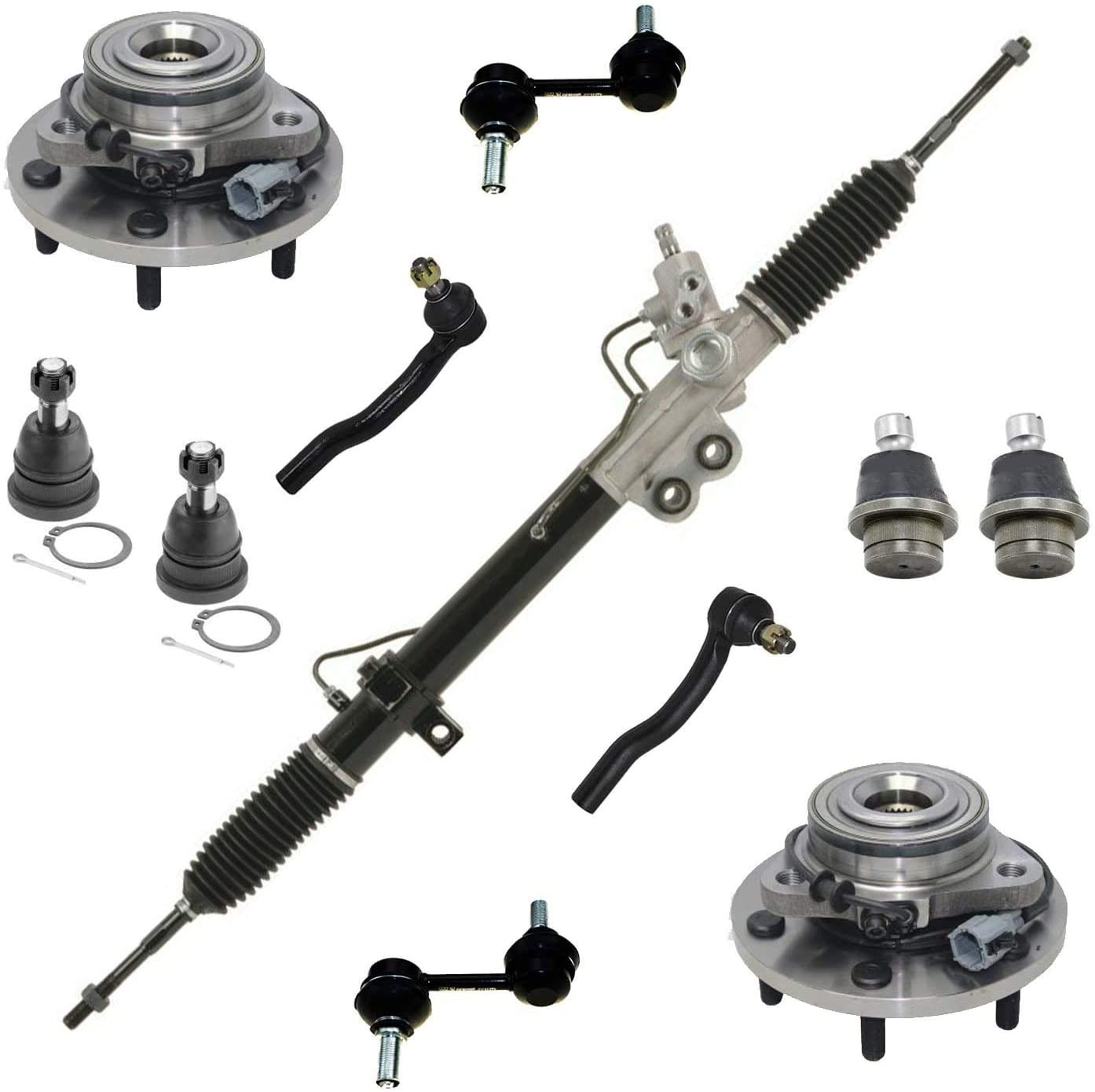 Detroit Axle - 11pc Power Steering Rack & Pinion w/Outer Tie Rods, Front Wheel Hub & Bearings, Sway Bar Links, Upper Lower Ball Joints for 05-07 Nissan Armada - [2004-2007 Titan] - Models w/ABS