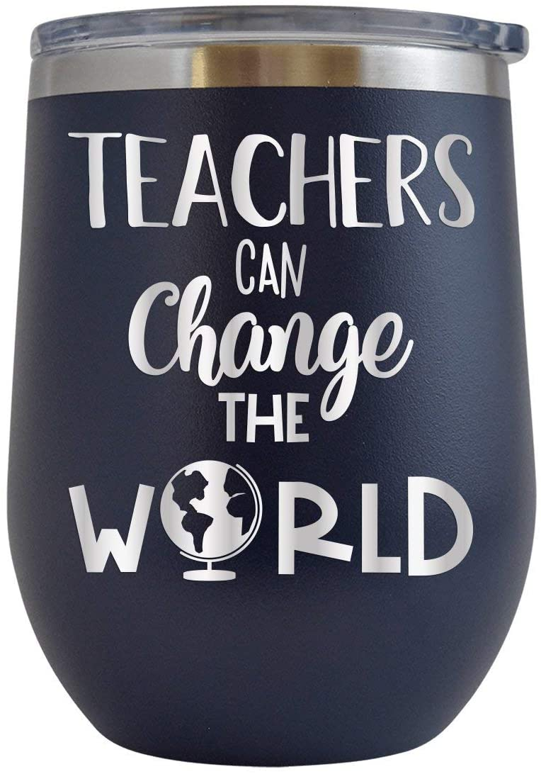 Teachers Can Change the World - Engraved 12 oz Stemless Wine Tumbler Cup Glass Etched - Funny Birthday Gift Ideas for him her teacher professor teach middle high school (Navy - 12 oz)