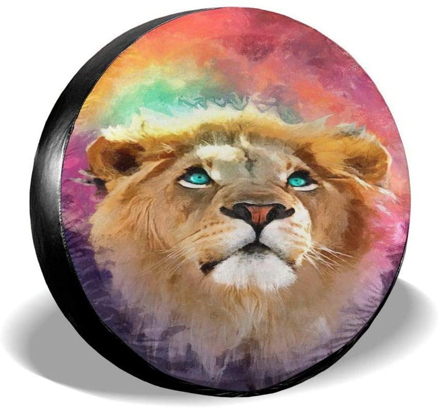 "Fehuew Galaxy Lion Face RV Spare Tire Cover 14 inch Wheel Sun UV Protectors for Car Liberty Happy Camper Trailer Accessories Diameter 23""-27"""